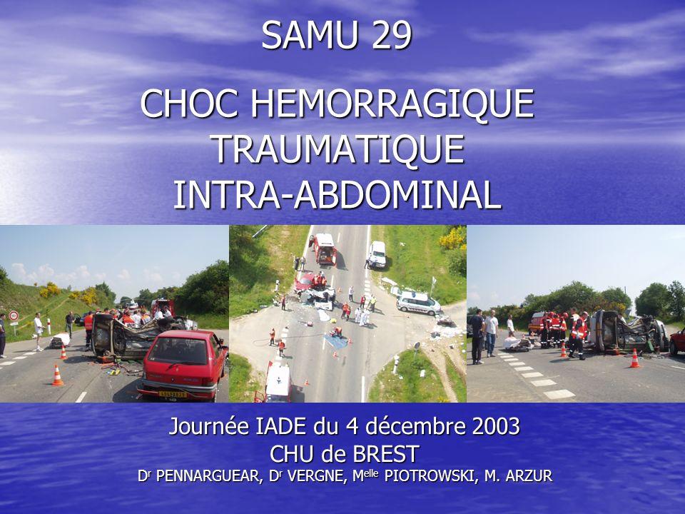 SAMU 29 CHOC HEMORRAGIQUE TRAUMATIQUE INTRA-ABDOMINAL Journée IADE du 4 décembre 2003 CHU de BREST D r PENNARGUEAR, D r VERGNE, M elle PIOTROWSKI, M.