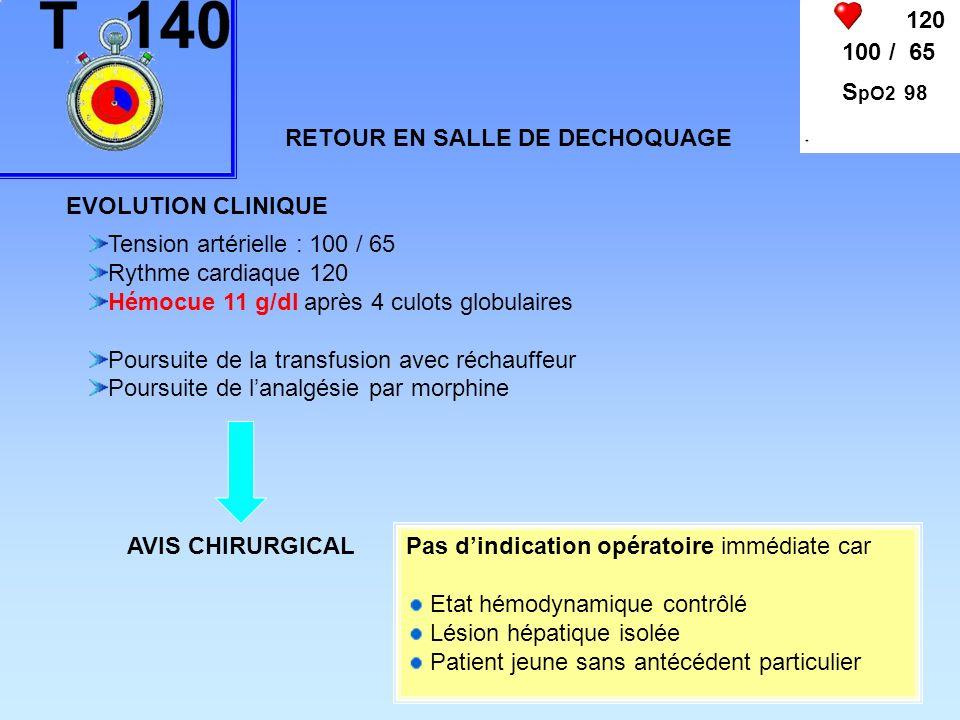 120 100 / 65 S pO2 98 RETOUR EN SALLE DE DECHOQUAGE Tension artérielle : 100 / 65 Rythme cardiaque 120 Hémocue 11 g/dl après 4 culots globulaires Pour