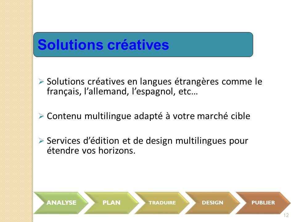 12 Solutions créatives en langues étrangères comme le français, lallemand, lespagnol, etc… Contenu multilingue adapté à votre marché cible Services dédition et de design multilingues pour étendre vos horizons.