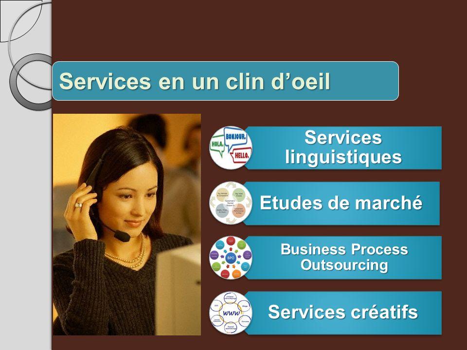 Services en un clin doeil Services linguistiques Etudes de marché Business Process Outsourcing Services créatifs