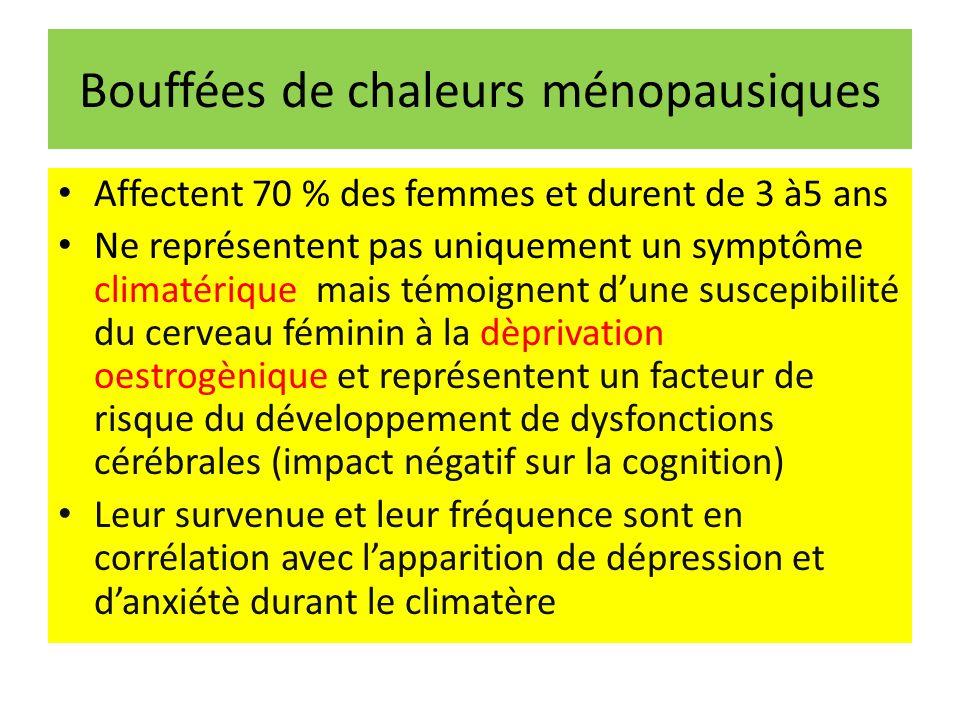 Bouffées de chaleurs ménopausiques Affectent 70 % des femmes et durent de 3 à5 ans Ne représentent pas uniquement un symptôme climatérique mais témoignent dune suscepibilité du cerveau féminin à la dèprivation oestrogènique et représentent un facteur de risque du développement de dysfonctions cérébrales (impact négatif sur la cognition) Leur survenue et leur fréquence sont en corrélation avec lapparition de dépression et danxiétè durant le climatère