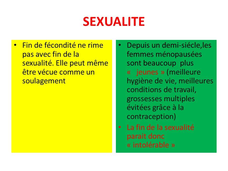 SEXUALITE Fin de fécondité ne rime pas avec fin de la sexualité.