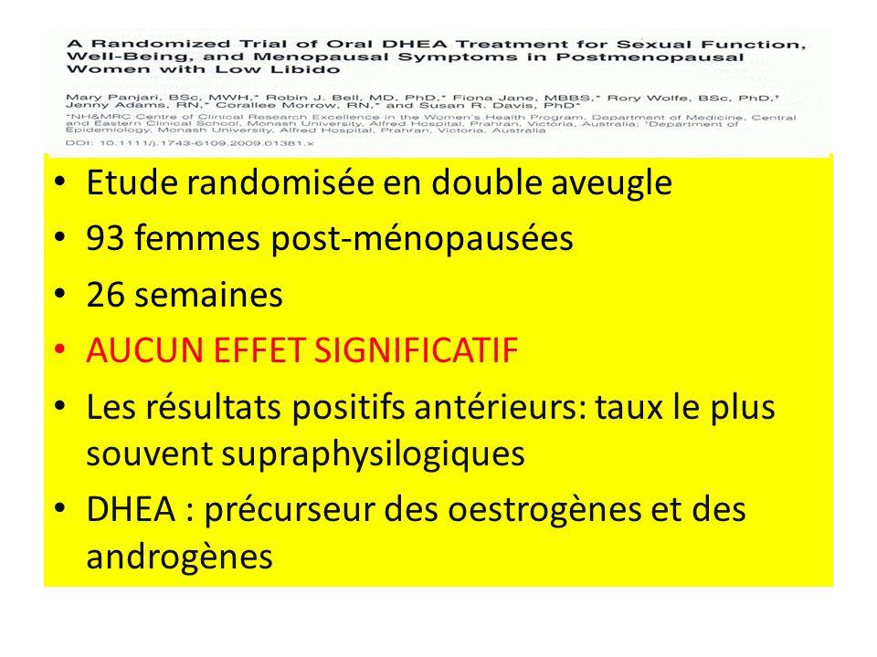 Etude randomisée en double aveugle 93 femmes post-ménopausées 26 semaines AUCUN EFFET SIGNIFICATIF Les résultats positifs antérieurs: taux le plus souvent supraphysilogiques DHEA : précurseur des oestrogènes et des androgènes