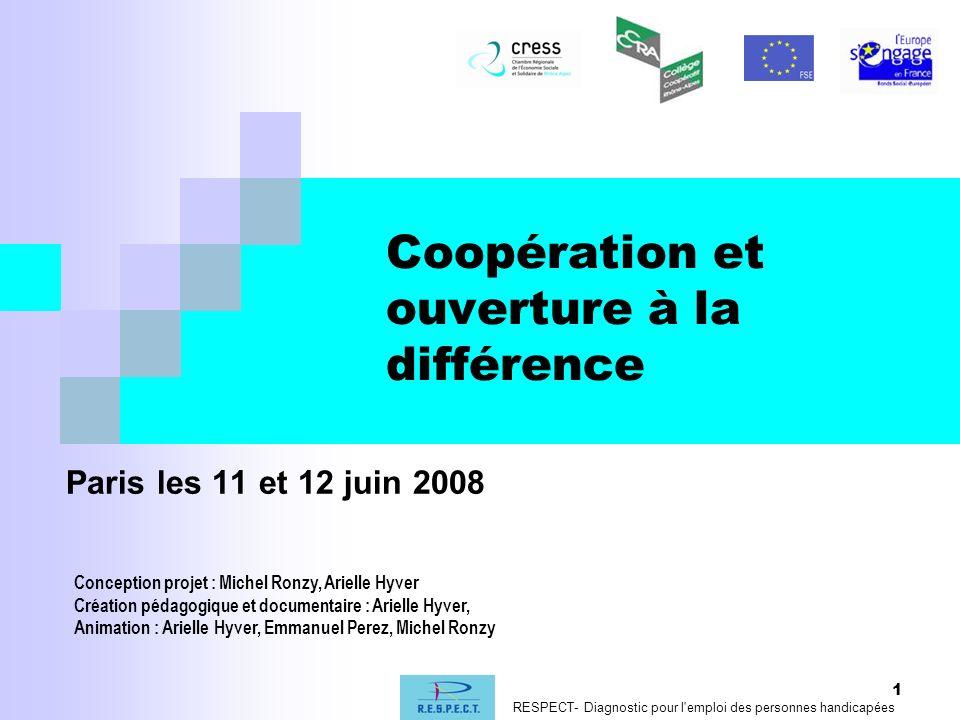 1 Coopération et ouverture à la différence Paris les 11 et 12 juin 2008 Conception projet : Michel Ronzy, Arielle Hyver Création pédagogique et docume