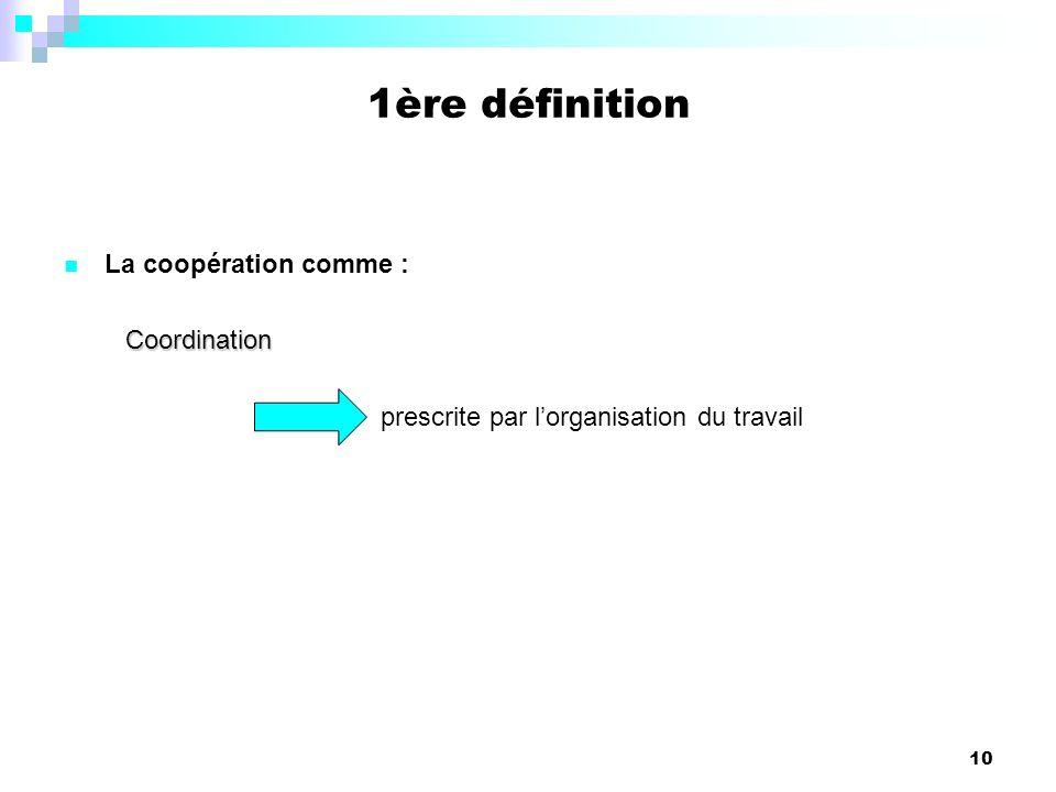 10 La coopération comme :Coordination prescrite par lorganisation du travail 1ère définition