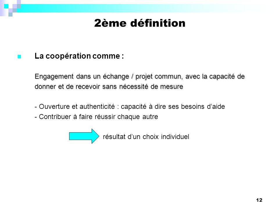 12 La coopération comme : Engagement dans un échange / projet commun, avec la capacité de donner et de recevoir sans nécessité de mesure - Ouverture e