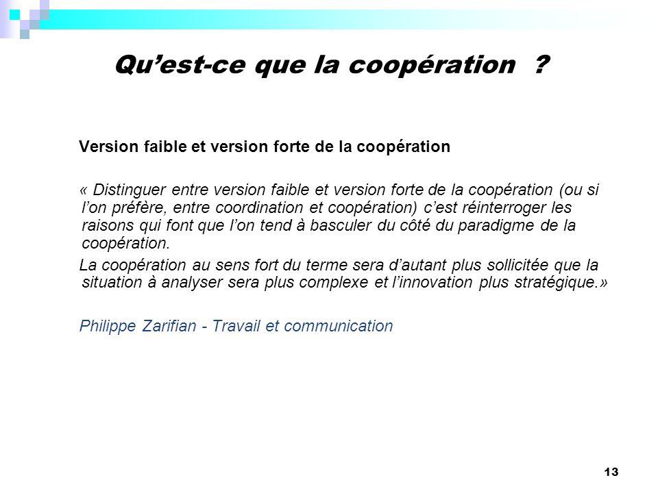 13 Version faible et version forte de la coopération « Distinguer entre version faible et version forte de la coopération (ou si lon préfère, entre co
