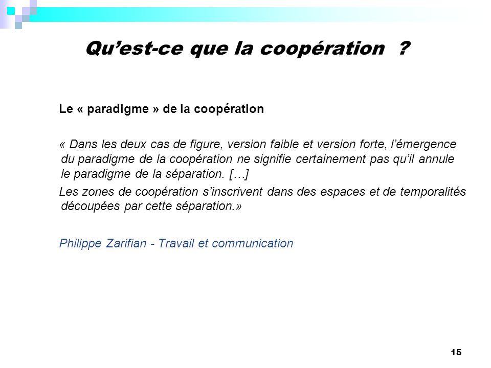 15 Le « paradigme » de la coopération « Dans les deux cas de figure, version faible et version forte, lémergence du paradigme de la coopération ne sig