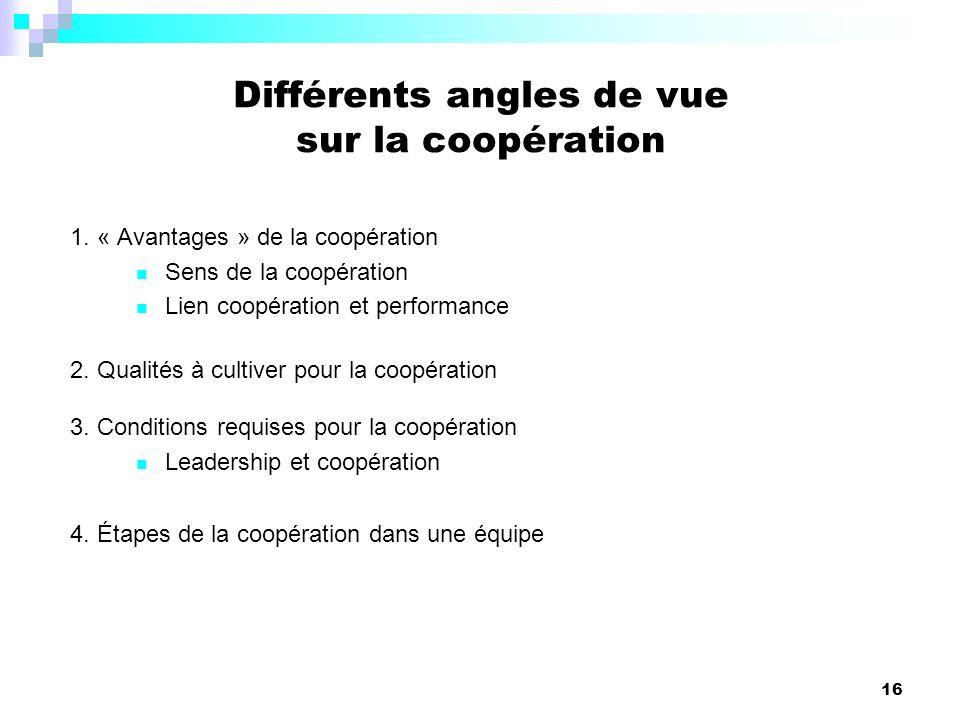 16 1. « Avantages » de la coopération Sens de la coopération Lien coopération et performance 2. Qualités à cultiver pour la coopération 3. Conditions