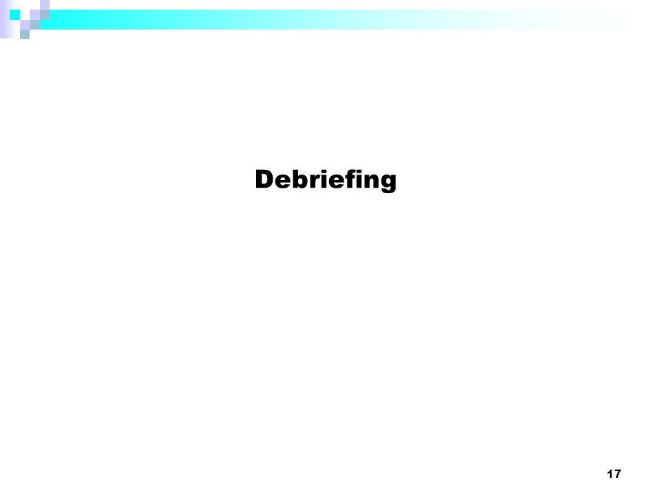 17 Debriefing