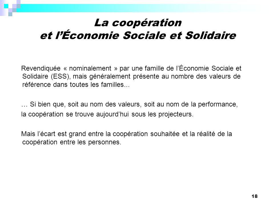 18 Revendiquée « nominalement » par une famille de lÉconomie Sociale et Solidaire (ESS), mais généralement présente au nombre des valeurs de référence