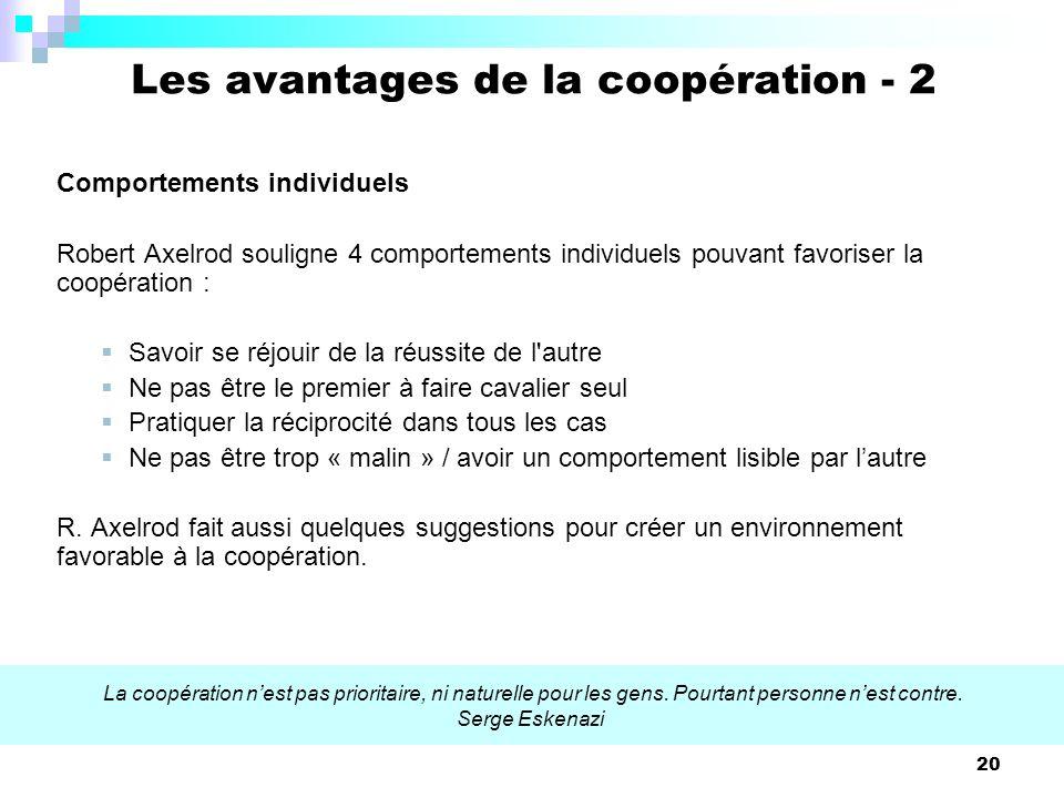 20 Comportements individuels Robert Axelrod souligne 4 comportements individuels pouvant favoriser la coopération : Savoir se réjouir de la réussite d