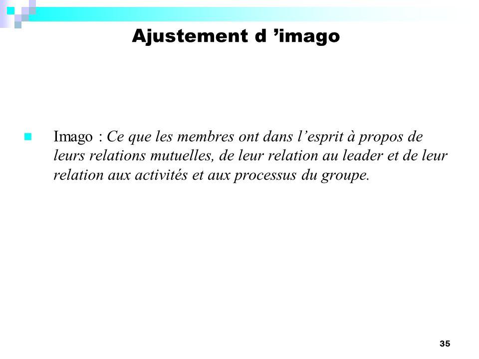 35 Imago : Ce que les membres ont dans lesprit à propos de leurs relations mutuelles, de leur relation au leader et de leur relation aux activités et