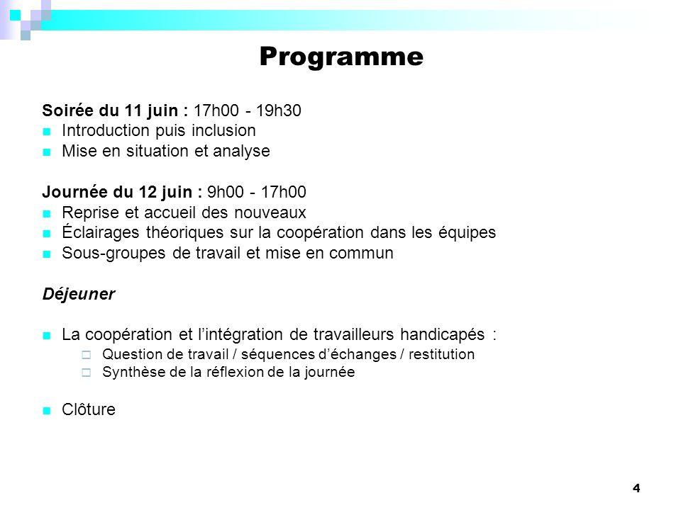 4 Programme Soirée du 11 juin : 17h00 - 19h30 Introduction puis inclusion Mise en situation et analyse Journée du 12 juin : 9h00 - 17h00 Reprise et ac