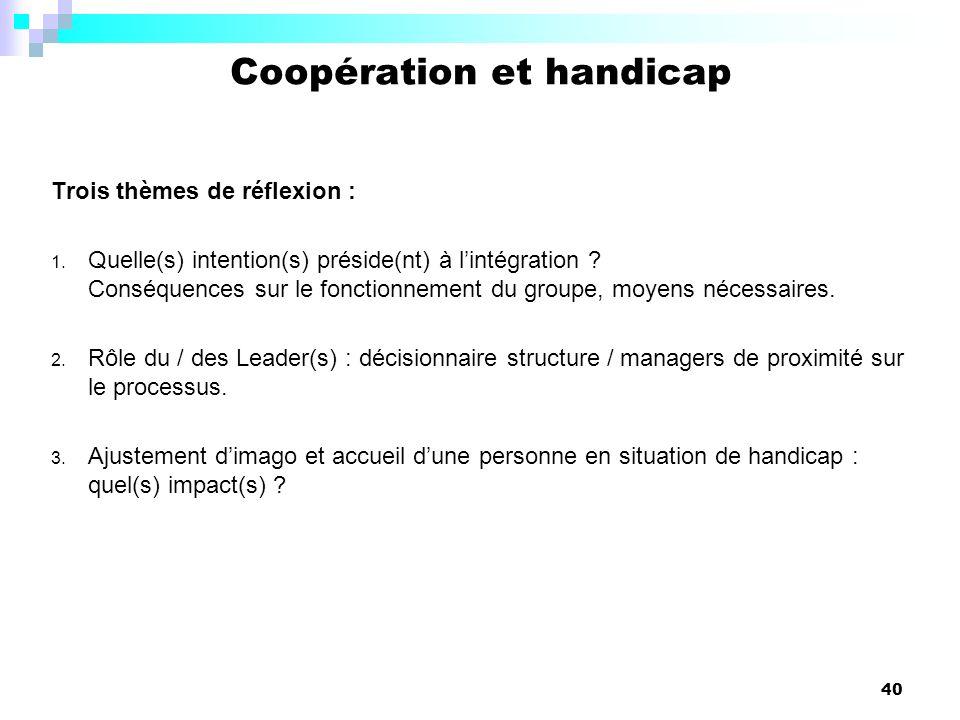 40 Trois thèmes de réflexion : 1. Quelle(s) intention(s) préside(nt) à lintégration ? Conséquences sur le fonctionnement du groupe, moyens nécessaires