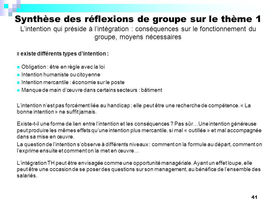 41 Synthèse des réflexions de groupe sur le thème 1 Lintention qui préside à lintégration : conséquences sur le fonctionnement du groupe, moyens néces