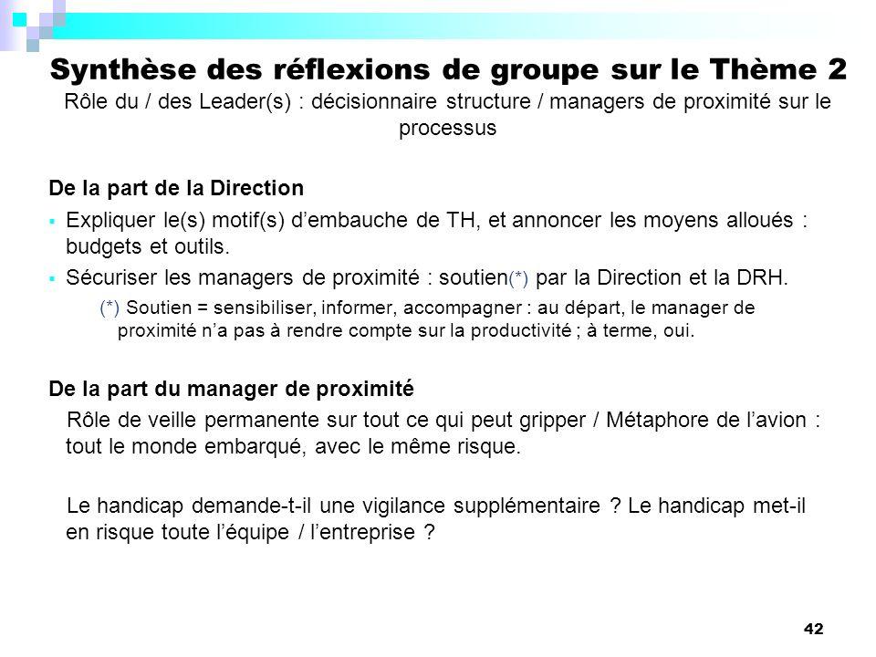 42 De la part de la Direction Expliquer le(s) motif(s) dembauche de TH, et annoncer les moyens alloués : budgets et outils. Sécuriser les managers de