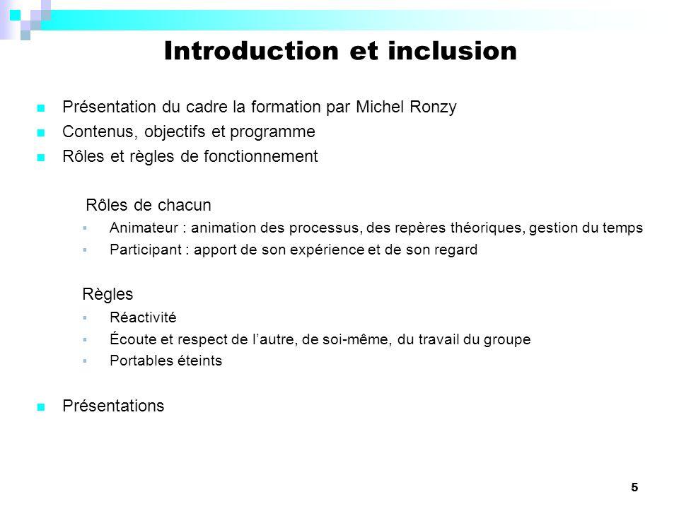 5 Présentation du cadre la formation par Michel Ronzy Contenus, objectifs et programme Rôles et règles de fonctionnement Rôles de chacun Animateur : a