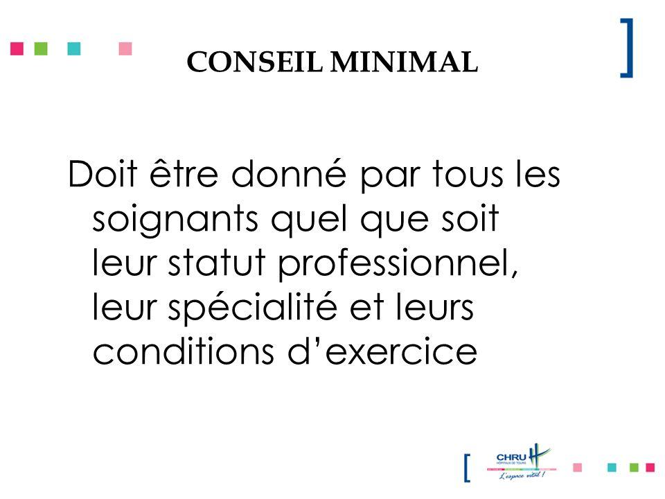 CONSEIL MINIMAL Doit être donné par tous les soignants quel que soit leur statut professionnel, leur spécialité et leurs conditions dexercice