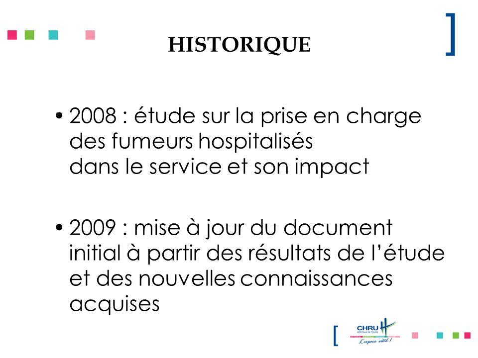 HISTORIQUE 2008 : étude sur la prise en charge des fumeurs hospitalisés dans le service et son impact 2009 : mise à jour du document initial à partir