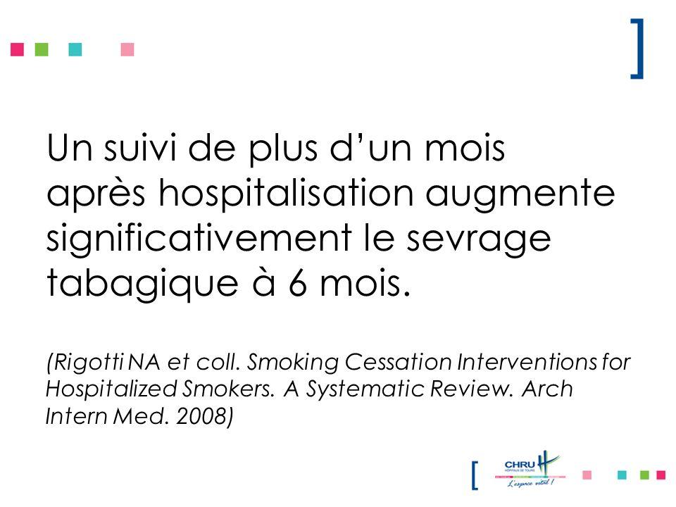 Un suivi de plus dun mois après hospitalisation augmente significativement le sevrage tabagique à 6 mois. (Rigotti NA et coll. Smoking Cessation Inter