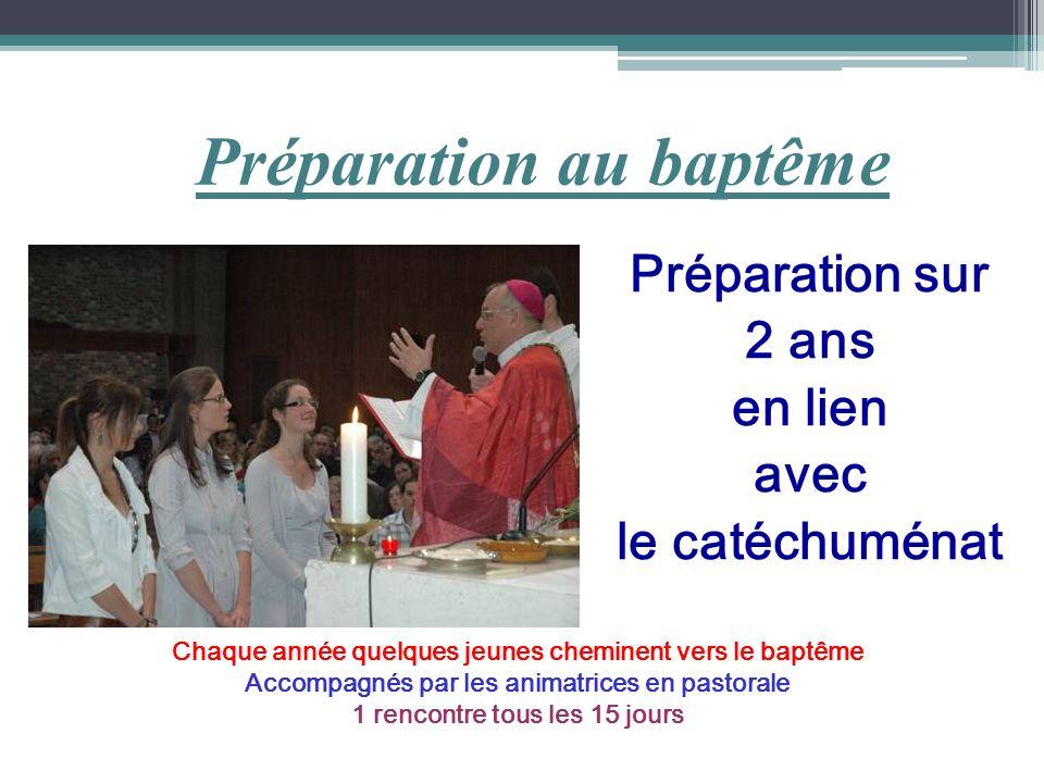 Préparation au baptême Préparation sur 2 ans en lien avec le catéchuménat Chaque année quelques jeunes cheminent vers le baptême Accompagnés par les a