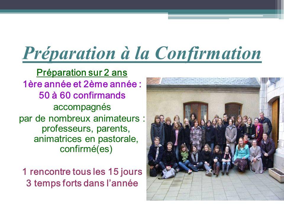 Préparation à la Confirmation Préparation sur 2 ans 1ère année et 2ème année : 50 à 60 confirmands accompagnés par de nombreux animateurs : professeur