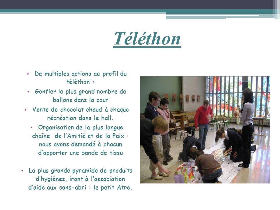 Téléthon De multiples actions au profil du téléthon : Gonfler le plus grand nombre de ballons dans la cour Vente de chocolat chaud à chaque récréation