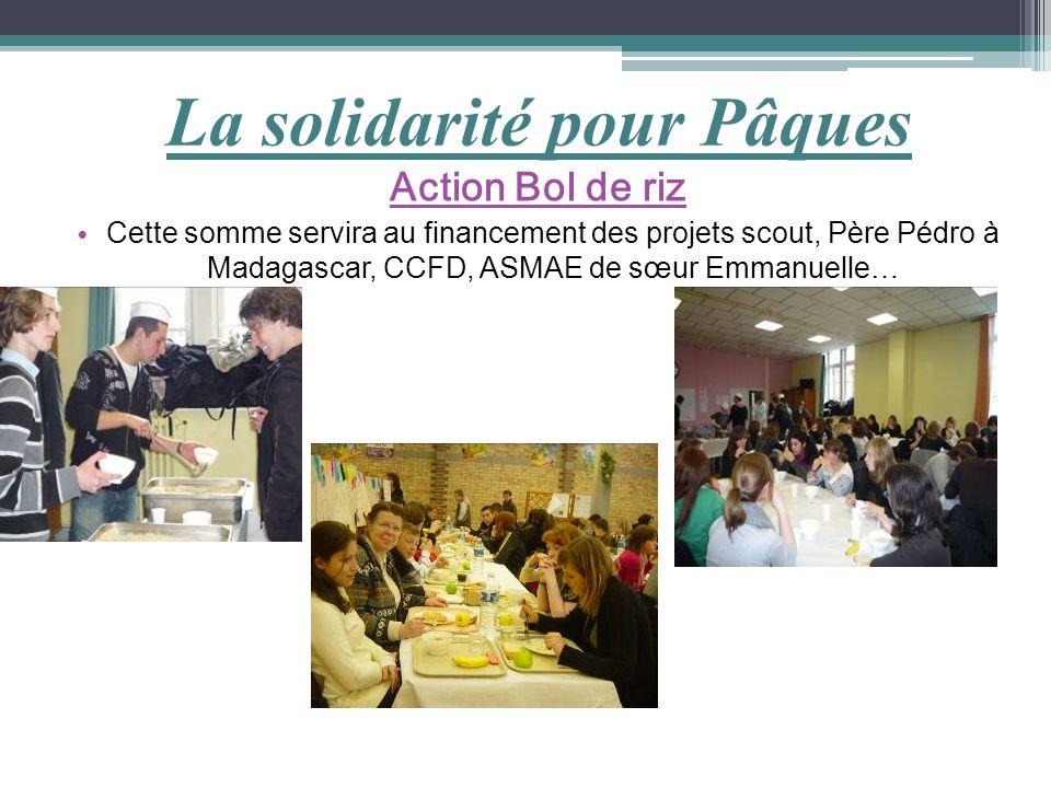La solidarité pour Pâques Action Bol de riz Cette somme servira au financement des projets scout, Père Pédro à Madagascar, CCFD, ASMAE de sœur Emmanue