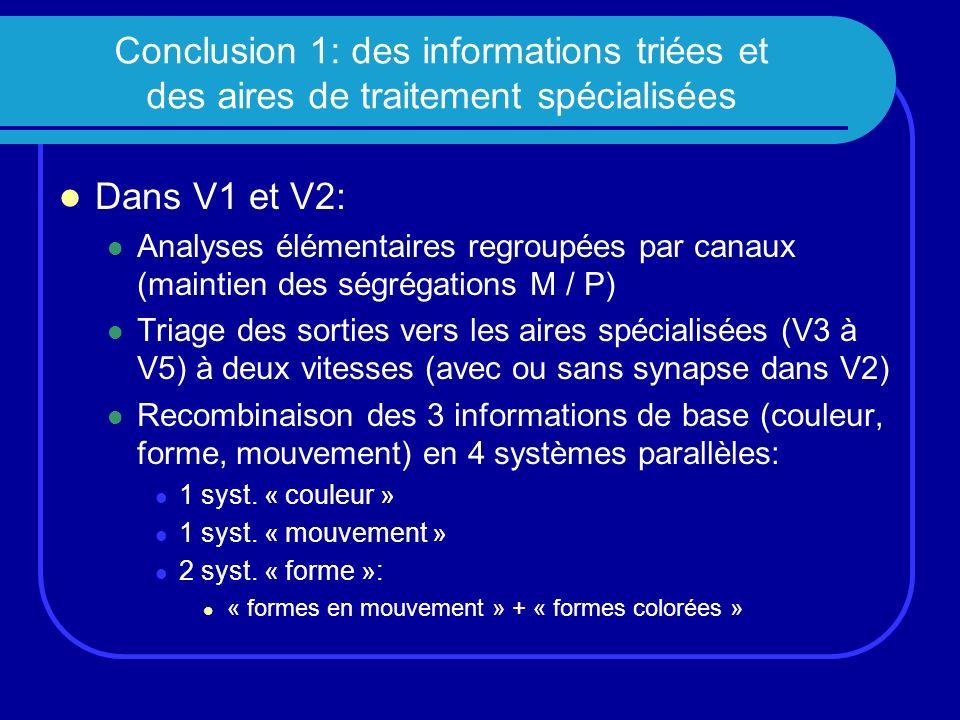 Conclusion 1: des informations triées et des aires de traitement spécialisées Dans V1 et V2: Analyses élémentaires regroupées par canaux (maintien des