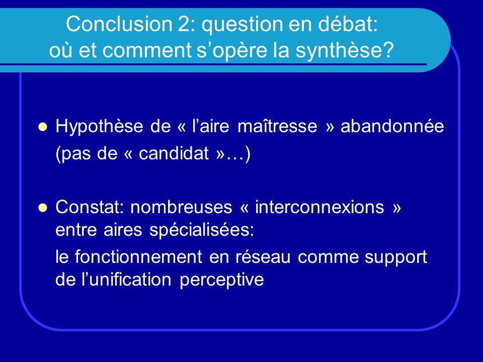 Conclusion 2: question en débat: où et comment sopère la synthèse? Hypothèse de « laire maîtresse » abandonnée (pas de « candidat »…) Constat: nombreu