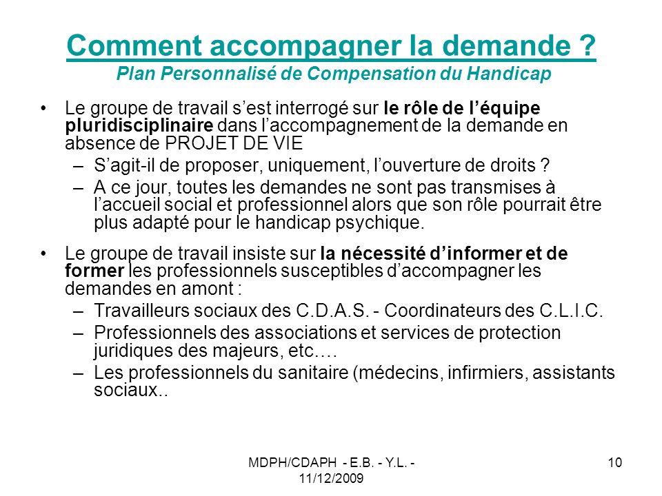 MDPH/CDAPH - E.B. - Y.L. - 11/12/2009 10 Comment accompagner la demande ? Plan Personnalisé de Compensation du Handicap Le groupe de travail sest inte