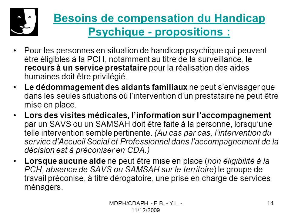 MDPH/CDAPH - E.B. - Y.L. - 11/12/2009 14 Besoins de compensation du Handicap Psychique - propositions : Pour les personnes en situation de handicap ps