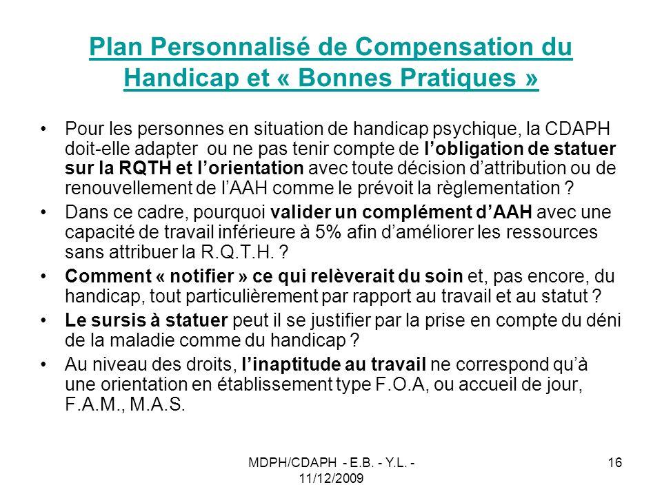 MDPH/CDAPH - E.B. - Y.L. - 11/12/2009 16 Plan Personnalisé de Compensation du Handicap et « Bonnes Pratiques » Pour les personnes en situation de hand