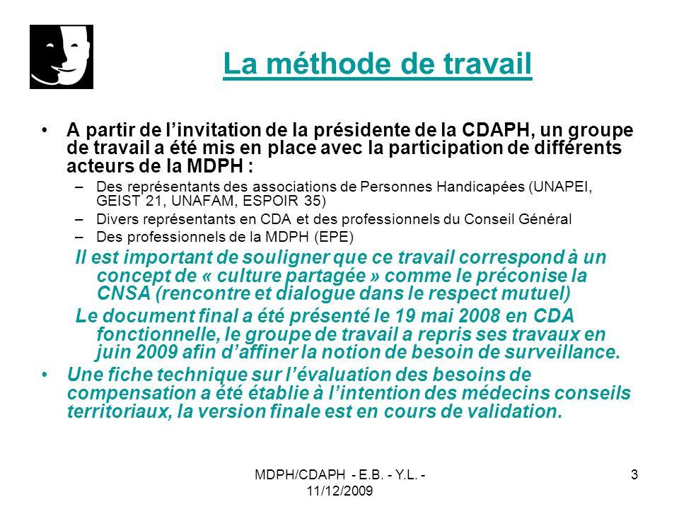 MDPH/CDAPH - E.B. - Y.L. - 11/12/2009 3 La méthode de travail A partir de linvitation de la présidente de la CDAPH, un groupe de travail a été mis en