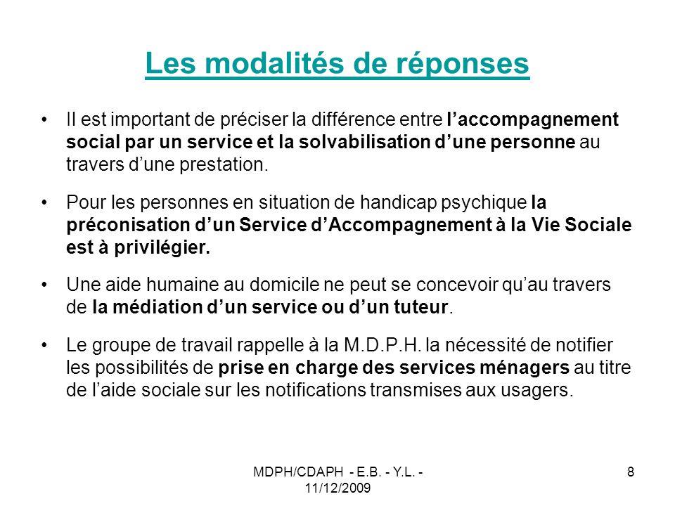 MDPH/CDAPH - E.B. - Y.L. - 11/12/2009 8 Les modalités de réponses Il est important de préciser la différence entre laccompagnement social par un servi