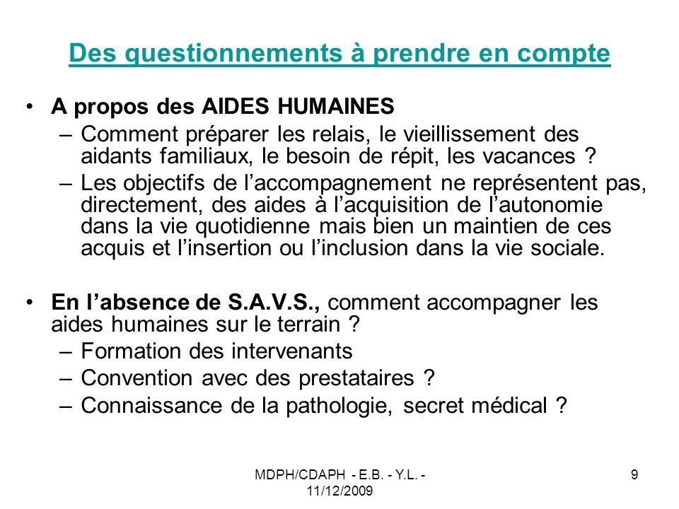 MDPH/CDAPH - E.B. - Y.L. - 11/12/2009 9 Des questionnements à prendre en compte A propos des AIDES HUMAINES –Comment préparer les relais, le vieilliss