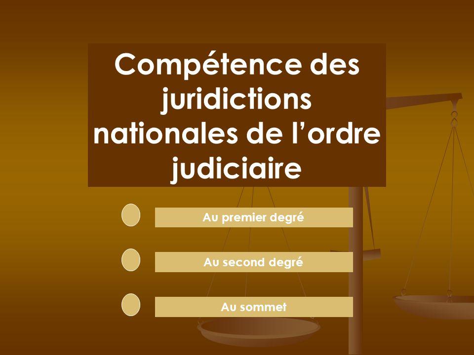Chaque juridiction a une COMPÉTENCE limitée Elle ne peut juger que certaines affaires en fonction de leur nature et parfois de leur montant. Elle ne c