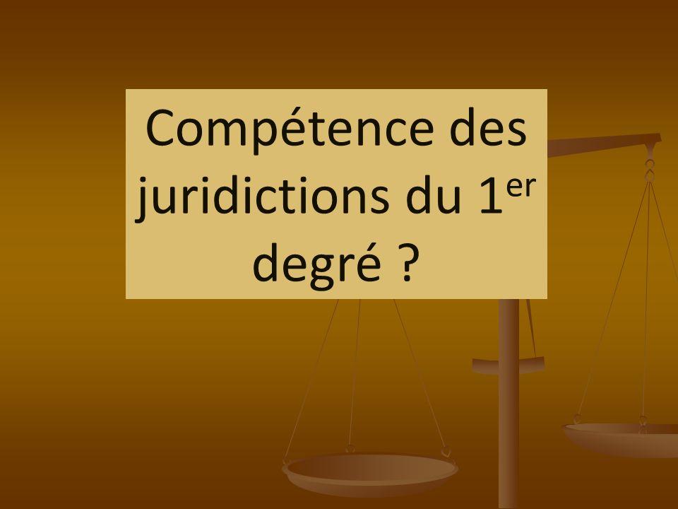 Compétence des juridictions nationales de lordre judiciaire Au premier degré Au second degré Au sommet