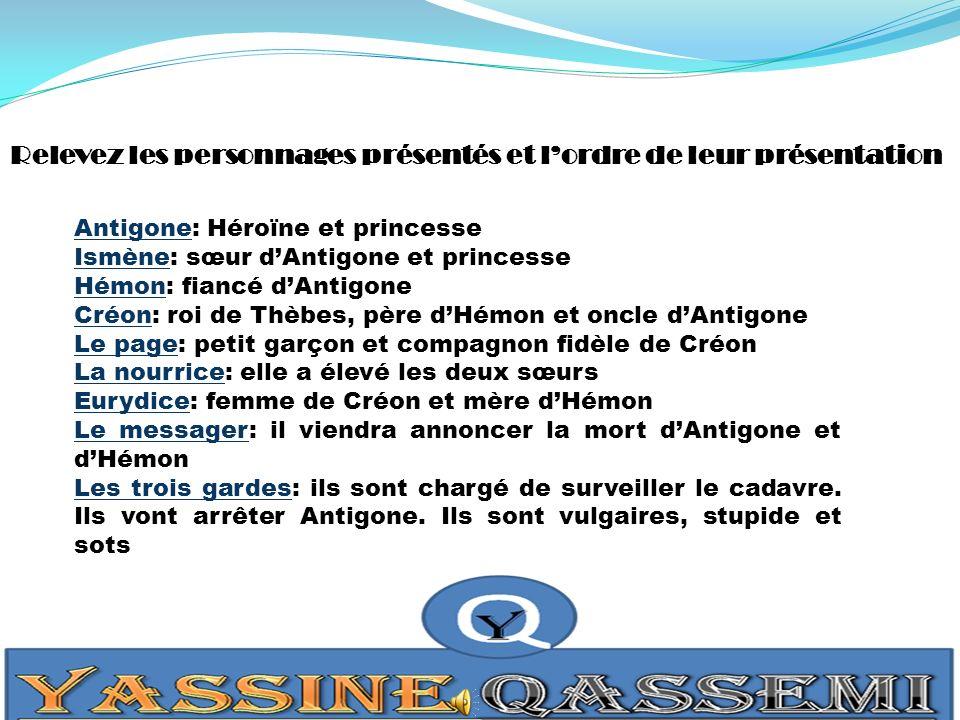 Relevez les personnages présentés et lordre de leur présentation Antigone: Héroïne et princesse Ismène: sœur dAntigone et princesse Hémon: fiancé dAnt