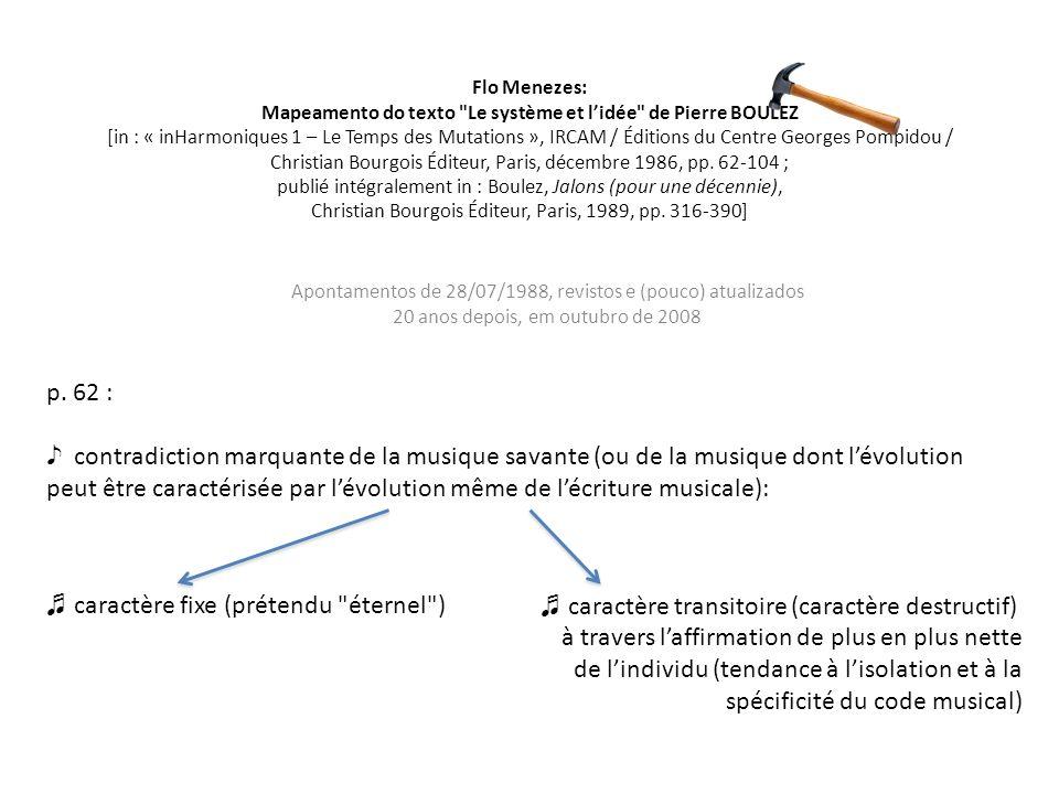 Flo Menezes: Mapeamento do texto Le système et lidée de Pierre BOULEZ [in : « inHarmoniques 1 – Le Temps des Mutations », IRCAM / Éditions du Centre Georges Pompidou / Christian Bourgois Éditeur, Paris, décembre 1986, pp.