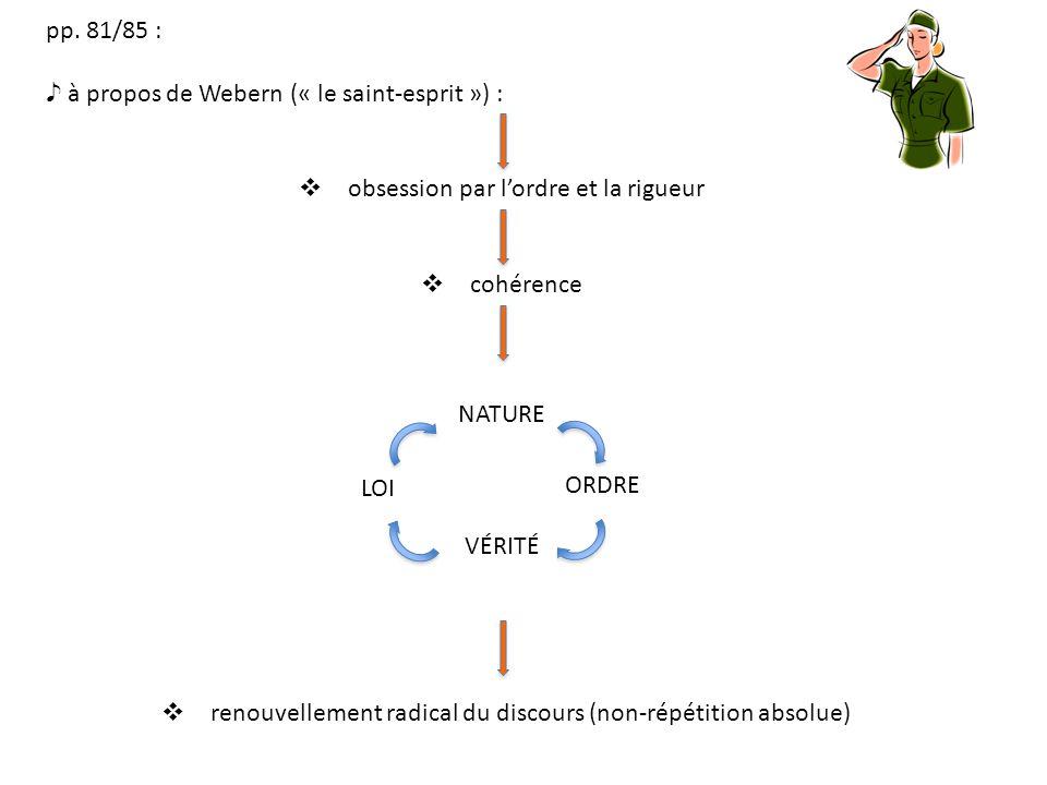 pp. 81/85 : à propos de Webern (« le saint-esprit ») : obsession par lordre et la rigueur cohérence NATURE renouvellement radical du discours (non-rép