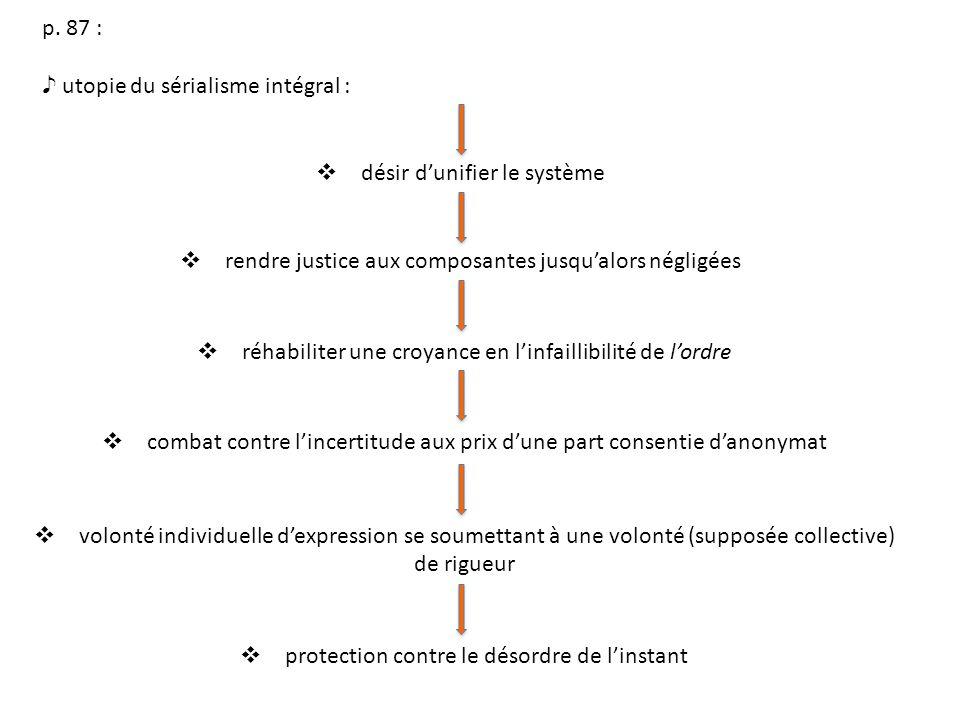 p. 87 : utopie du sérialisme intégral : désir dunifier le système rendre justice aux composantes jusqualors négligées réhabiliter une croyance en linf