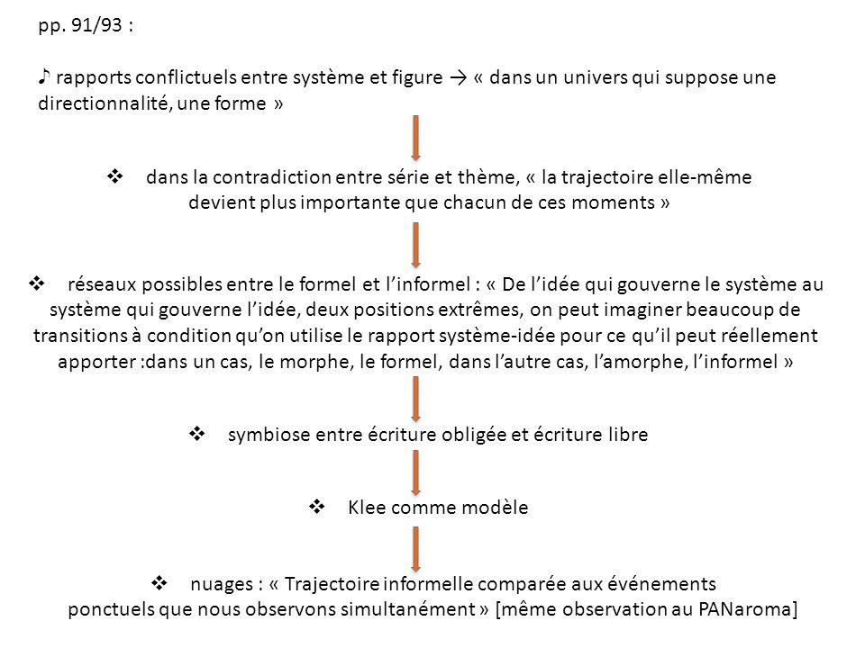 pp. 91/93 : rapports conflictuels entre système et figure « dans un univers qui suppose une directionnalité, une forme » dans la contradiction entre s