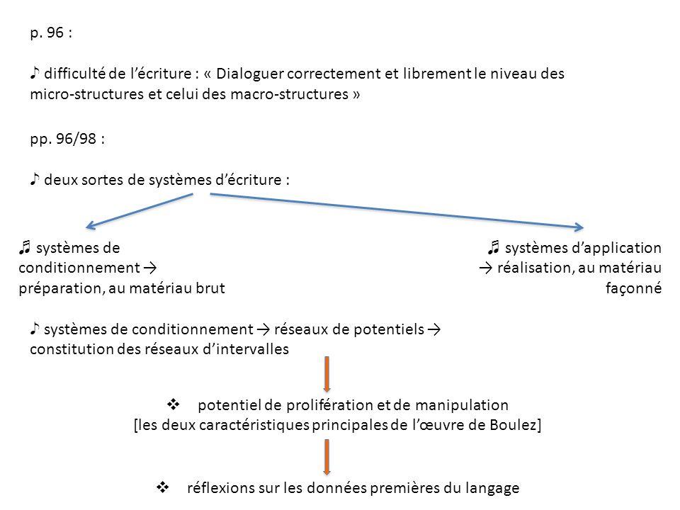 p. 96 : difficulté de lécriture : « Dialoguer correctement et librement le niveau des micro-structures et celui des macro-structures » pp. 96/98 : deu