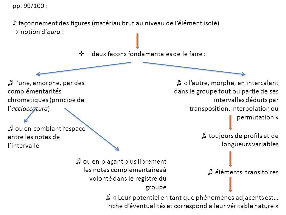 pp. 99/100 : façonnement des figures (matériau brut au niveau de lélément isolé) notion daura : deux façons fondamentales de le faire : lune, amorphe,