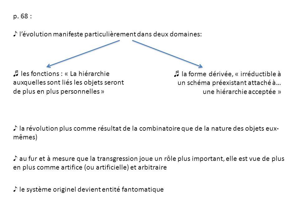 p. 68 : lévolution manifeste particulièrement dans deux domaines: les fonctions : « La hiérarchie auxquelles sont liés les objets seront de plus en pl