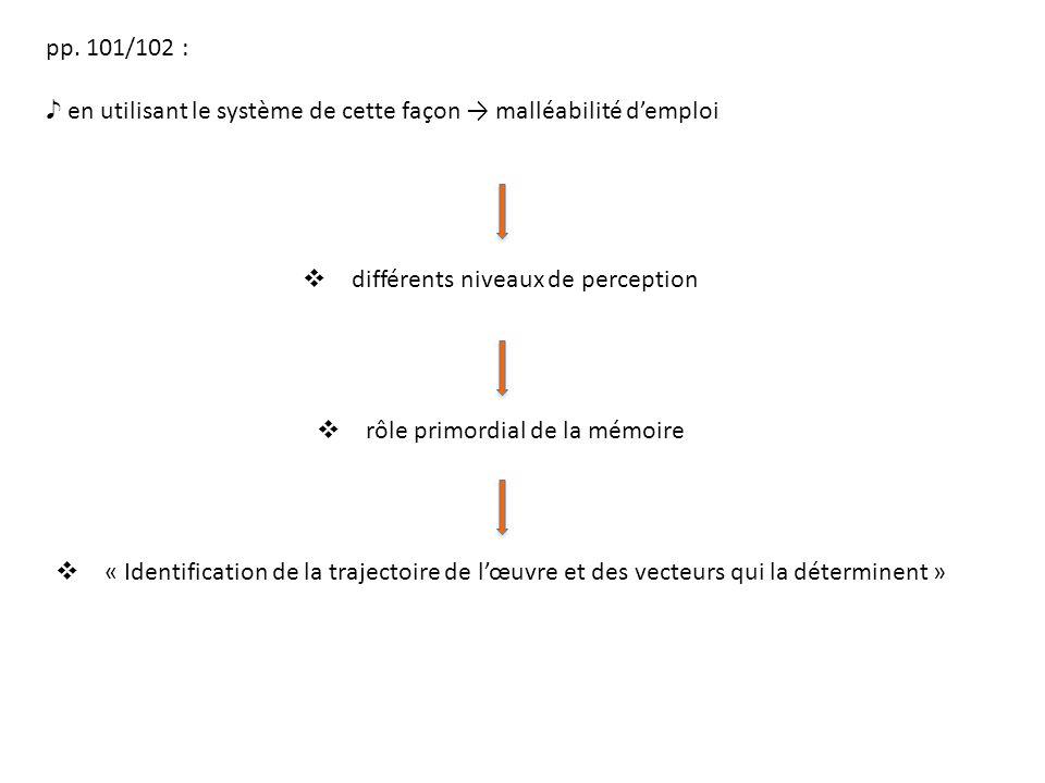 pp. 101/102 : en utilisant le système de cette façon malléabilité demploi différents niveaux de perception rôle primordial de la mémoire « Identificat