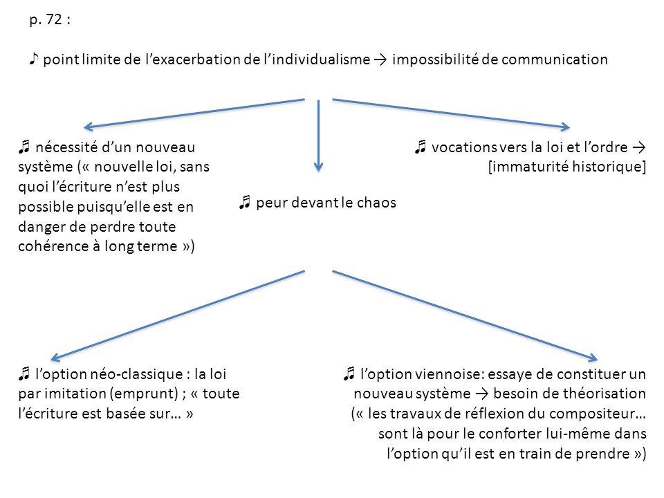 p. 72 : point limite de lexacerbation de lindividualisme impossibilité de communication nécessité dun nouveau système (« nouvelle loi, sans quoi lécri