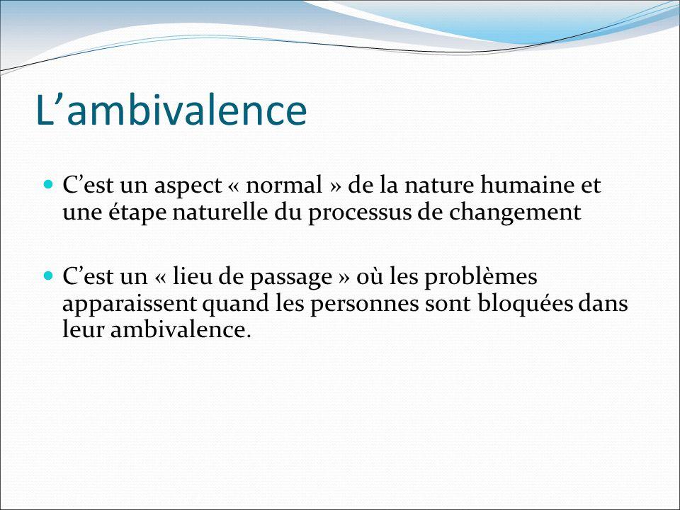 Lambivalence Cest un aspect « normal » de la nature humaine et une étape naturelle du processus de changement Cest un « lieu de passage » où les probl